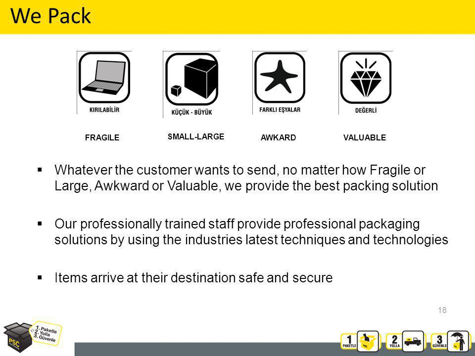 Whatever the customer wants to send, no matter how Fragile or Large, Awkward or Valuable, we provide the best packing solution Our professionally trained staff provide professional packaging solutions by using the industries latest techniques and technologies Items arrive at their destination safe and secure We Pack SMALL-LARGE FRAGILEVALUABLEAWKARD 18