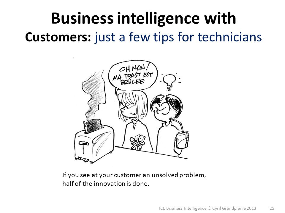 ICE Business Intelligence © Cyril Grandpierre 2013 25 Business intelligence with Customers: just a few tips for technicians If you see at your custome