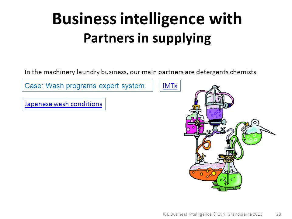ICE Business Intelligence © Cyril Grandpierre 2013 28 Business intelligence with Partners in supplying Japanese wash conditions Case: Wash programs ex