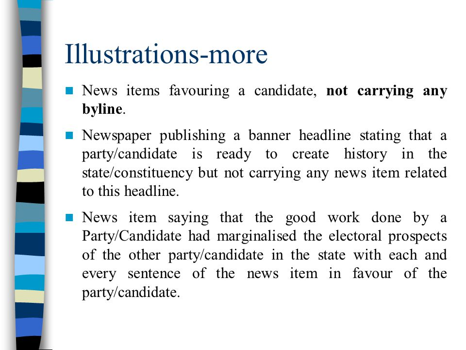 Illustrations-more News items favouring a candidate, not carrying any byline.