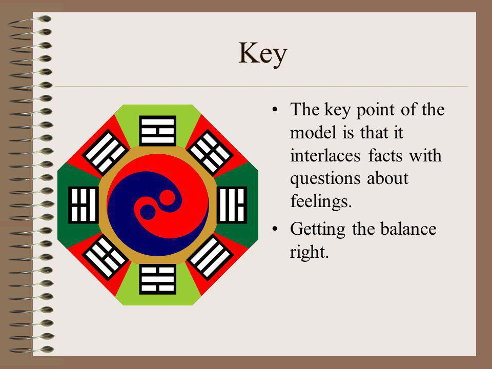Key The key point of the model is that it interlaces facts with questions about feelings. Getting the balance right.