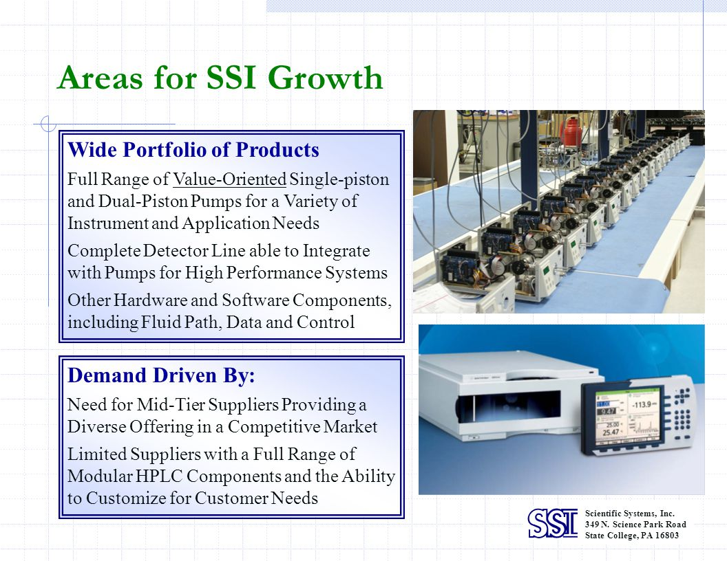Scientific Systems, Inc. 349 N. Science Park Road State College, PA 16803 Wide Portfolio of Products Full Range of Value-Oriented Single-piston and Du