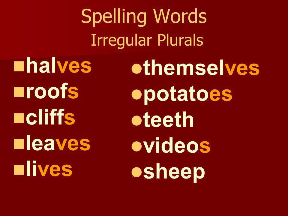 Spelling Words Irregular Plurals loaves hoofs tornadoes banjos patios beliefs cuffs sheep radios moose