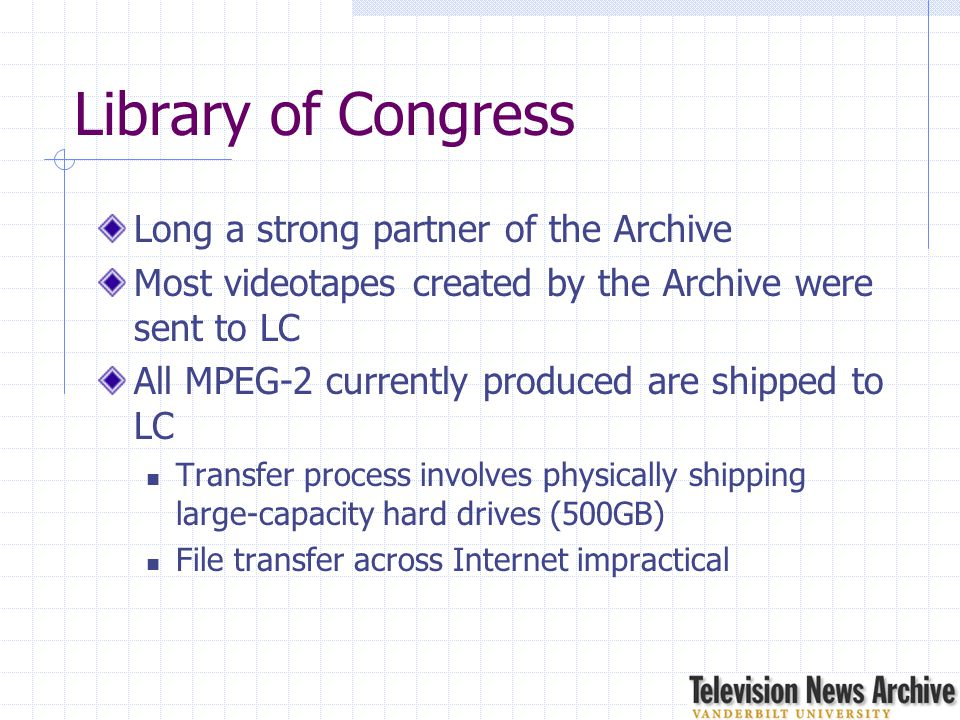 Library of Congress Long a strong partner of the Archive Most videotapes created by the Archive were sent to LC All MPEG-2 currently produced are ship