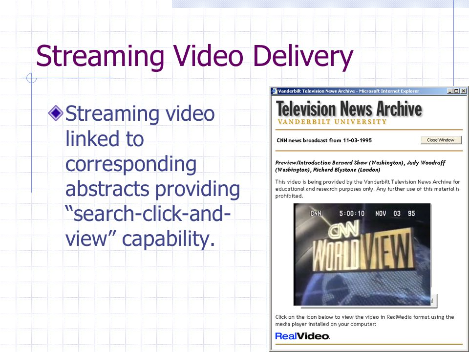 Streaming Video Delivery Streaming video linked to corresponding abstracts providing search-click-and- view capability.