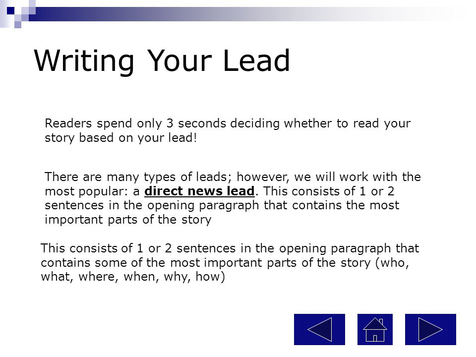 Practice Using Leads Now, use the following tools to create your own lead.