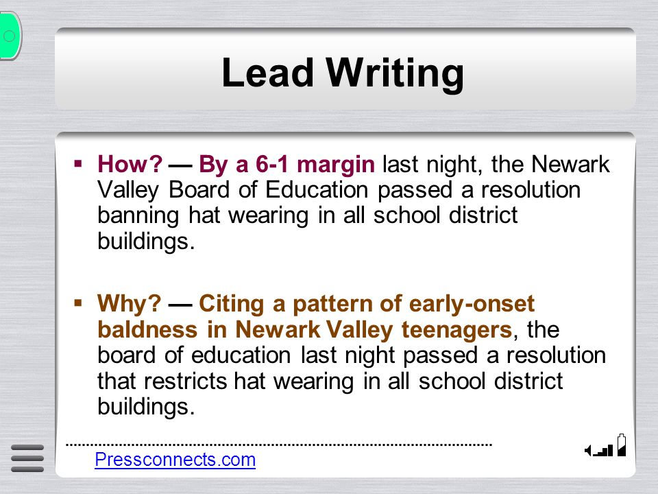 Lead Writing Where.