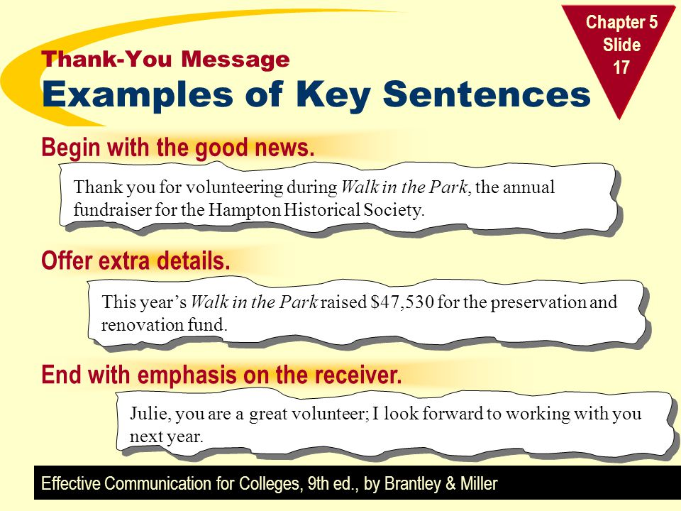 Effective Communication for Colleges, 9th ed., by Brantley & Miller Chapter 5 Slide 17 Thank-You Message Examples of Key Sentences Offer extra details