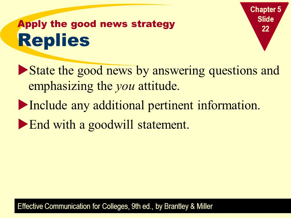 Effective Communication for Colleges, 9th ed., by Brantley & Miller Chapter 5 Slide 22 Apply the good news strategy Replies State the good news by ans