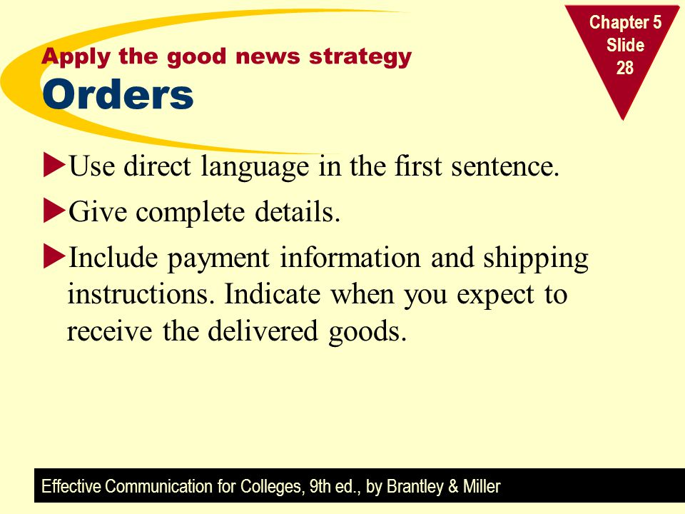 Effective Communication for Colleges, 9th ed., by Brantley & Miller Chapter 5 Slide 28 Apply the good news strategy Orders Use direct language in the