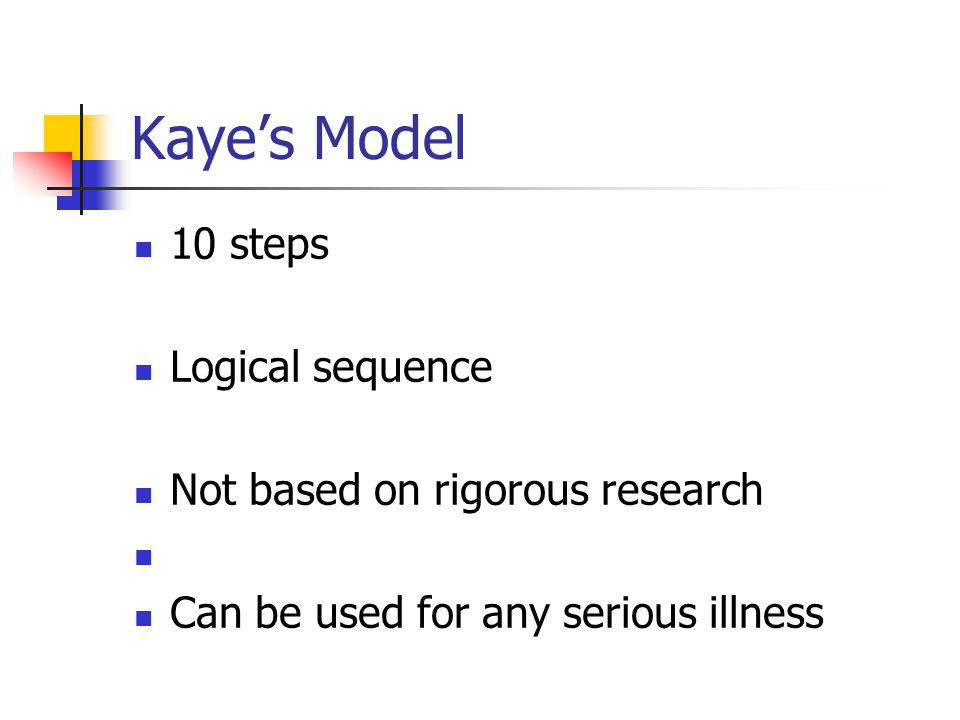 Kayes Model 10 steps Logical sequence Not based on rigorous research Can be used for any serious illness
