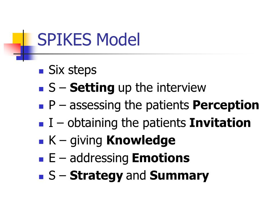 SPIKES Model Six steps S – Setting up the interview P – assessing the patients Perception I – obtaining the patients Invitation K – giving Knowledge E