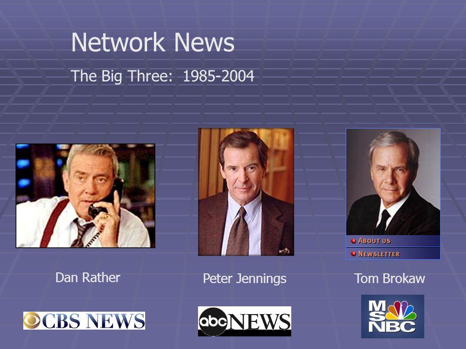 Network News The Big Three: 1985-2004 Tom BrokawPeter Jennings Dan Rather