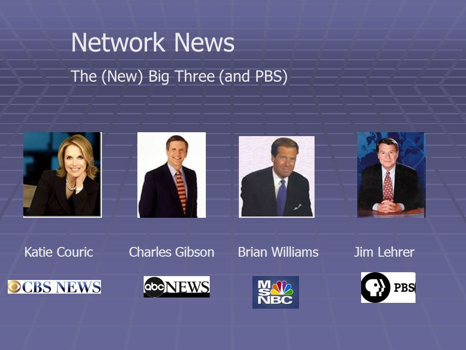 Network News The (New) Big Three (and PBS) Brian WilliamsCharles GibsonKatie CouricJim Lehrer