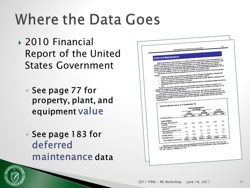 2010 Financial Report of the United States Government See page 77 for property, plant, and equipment value See page 183 for deferred maintenance data