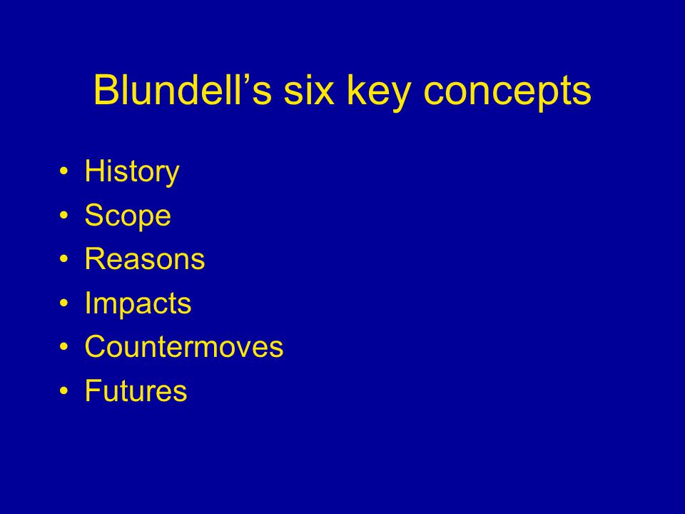 Blundells six key concepts History Scope Reasons Impacts Countermoves Futures