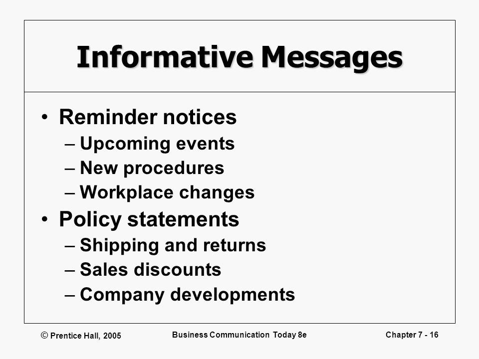 © Prentice Hall, 2005 Business Communication Today 8eChapter 7 - 16 Informative Messages Reminder notices –Upcoming events –New procedures –Workplace