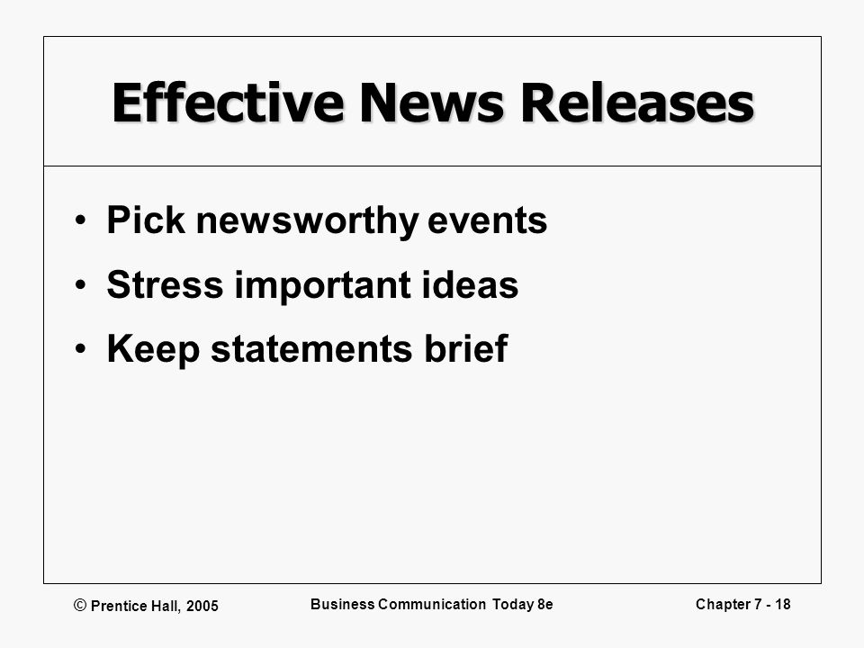 © Prentice Hall, 2005 Business Communication Today 8eChapter 7 - 18 Effective News Releases Pick newsworthy events Stress important ideas Keep stateme
