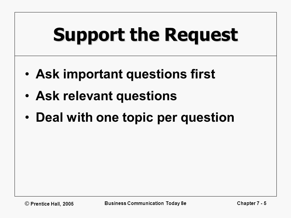 © Prentice Hall, 2005 Business Communication Today 8eChapter 7 - 5 Support the Request Ask important questions first Ask relevant questions Deal with