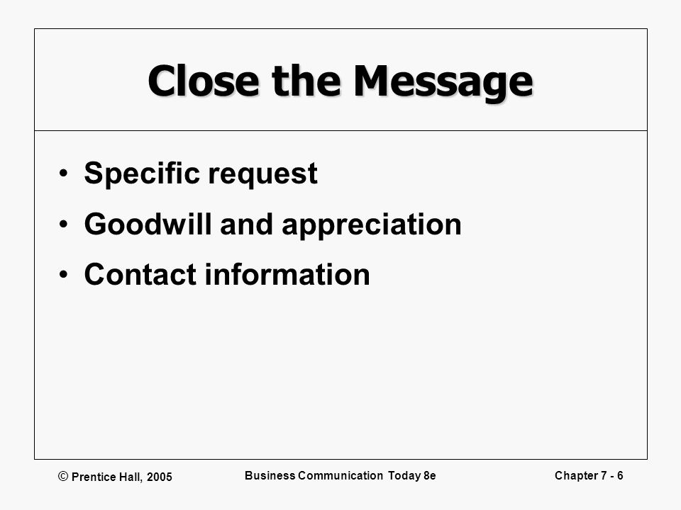 © Prentice Hall, 2005 Business Communication Today 8eChapter 7 - 6 Close the Message Specific request Goodwill and appreciation Contact information