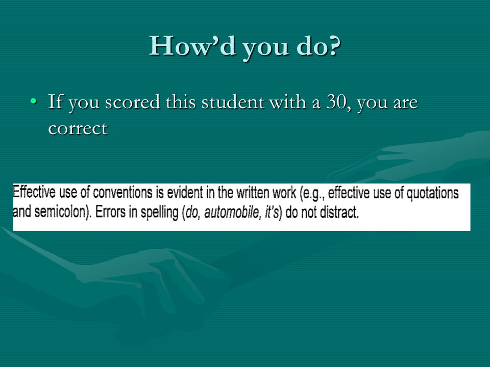Howd you do? If you scored this student with a 30, you are correctIf you scored this student with a 30, you are correct