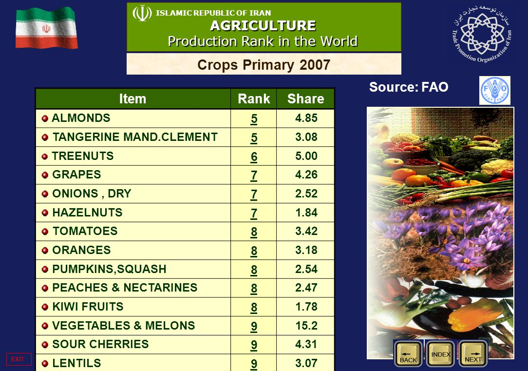 15 ISLAMIC REPUBLIC OF IRANAGRICULTURE Production Rank in the World Crops Primary 2007 Source: FAO ItemRankShare ALMONDS 5 4.85 TANGERINE MAND.CLEMENT