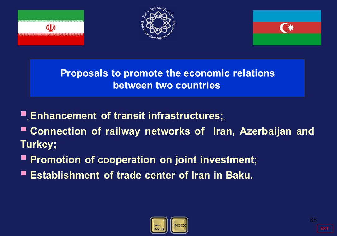 65 EXIT ٍٍٍٍٍٍٍٍٍ Enhancement of transit infrastructures; ٍٍٍٍٍٍٍ Connection of railway networks of Iran, Azerbaijan and Turkey; Promotion of cooperat