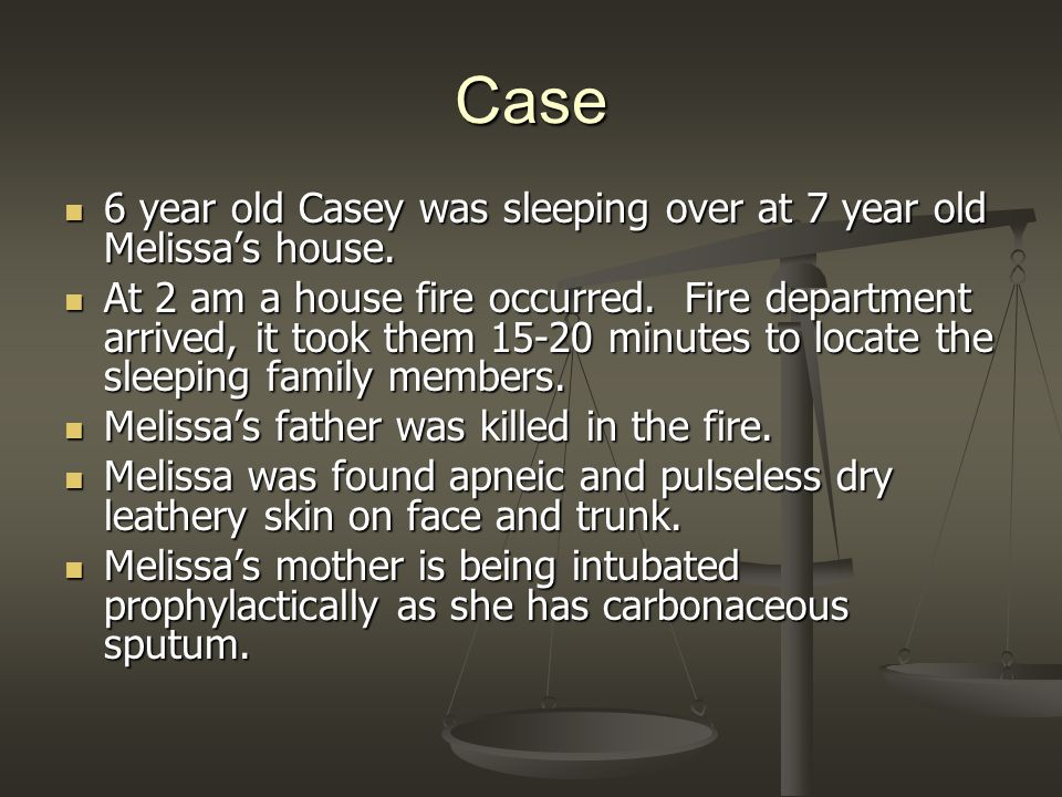 Case 6 year old Casey was sleeping over at 7 year old Melissas house.