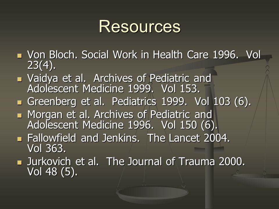 Resources Von Bloch. Social Work in Health Care 1996. Vol 23(4). Von Bloch. Social Work in Health Care 1996. Vol 23(4). Vaidya et al. Archives of Pedi