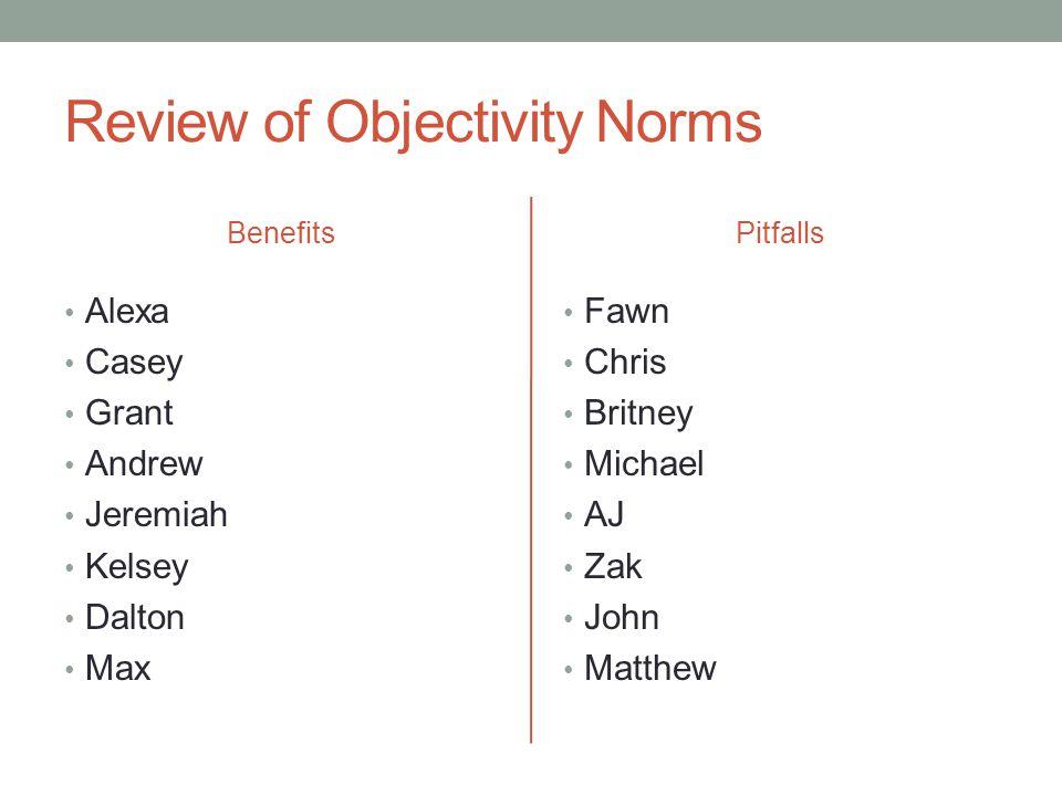 Review of Objectivity Norms Benefits Alexa Casey Grant Andrew Jeremiah Kelsey Dalton Max Pitfalls Fawn Chris Britney Michael AJ Zak John Matthew