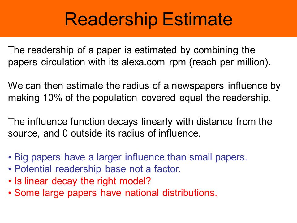 Readership Estimate The readership of a paper is estimated by combining the papers circulation with its alexa.com rpm (reach per million).