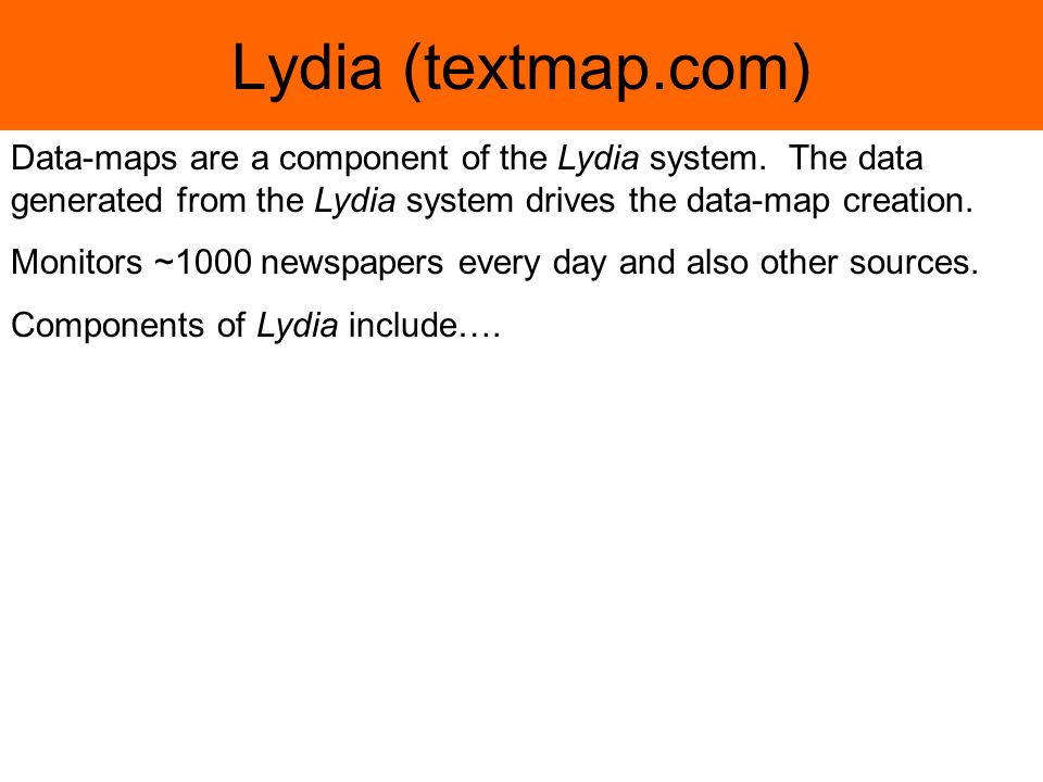 Lydia (textmap.com) Data-maps are a component of the Lydia system.
