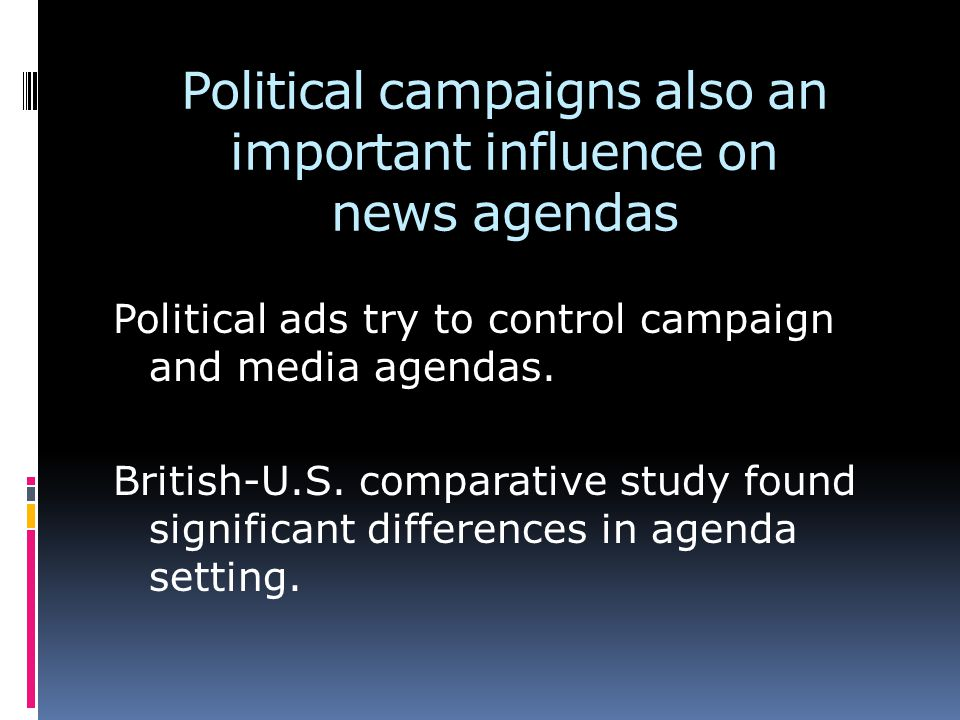Political campaigns also an important influence on news agendas Political ads try to control campaign and media agendas.