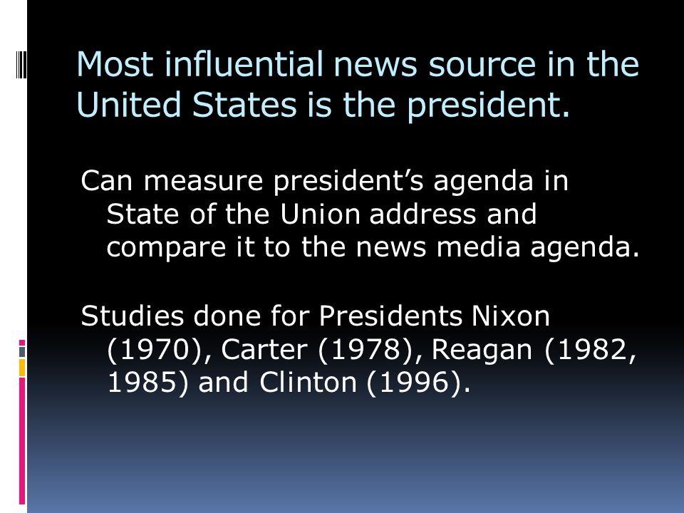 Nixons agenda predicted later news agenda.Carters agenda did not predict later news agenda.