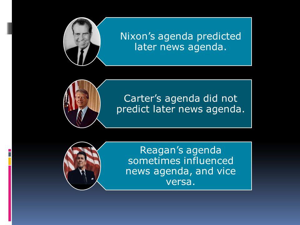 Nixons agenda predicted later news agenda. Carters agenda did not predict later news agenda.