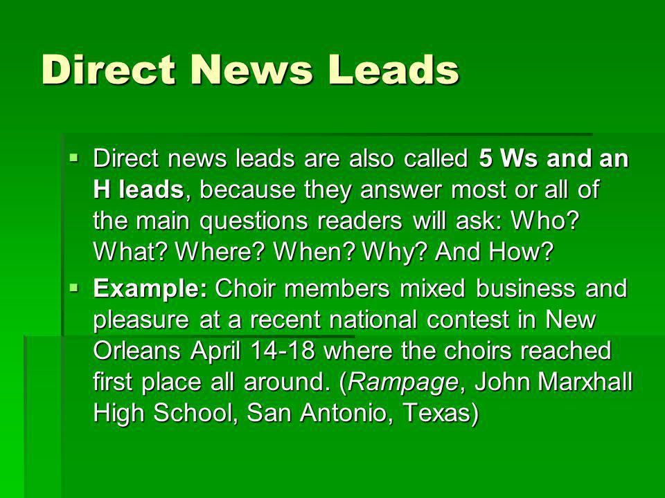 Direct News Leads cont.