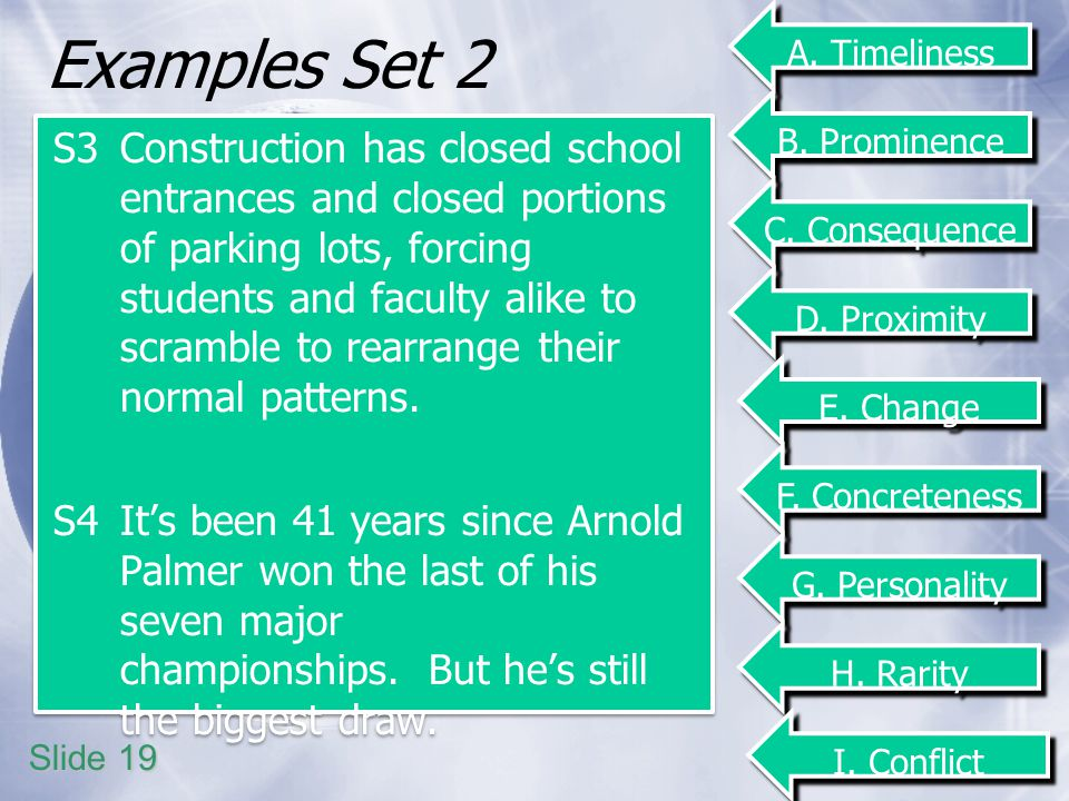 Examples Set 2 S3Construction has closed school entrances and closed portions of parking lots, forcing students and faculty alike to scramble to rearrange their normal patterns.