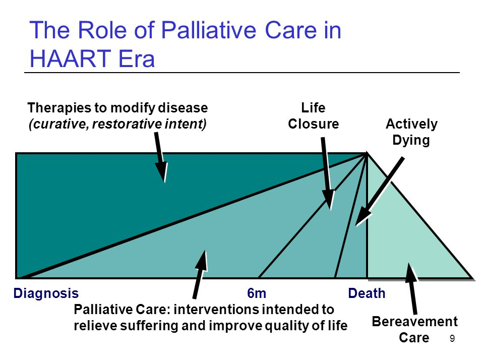 9 The Role of Palliative Care in HAART Era DiagnosisDeath Therapies to modify disease (curative, restorative intent) Actively Dying Bereavement Care L