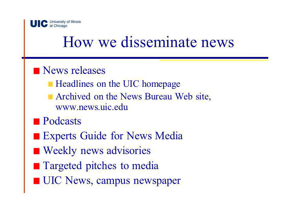 How we disseminate news News releases Headlines on the UIC homepage Archived on the News Bureau Web site, www.news.uic.edu Podcasts Experts Guide for