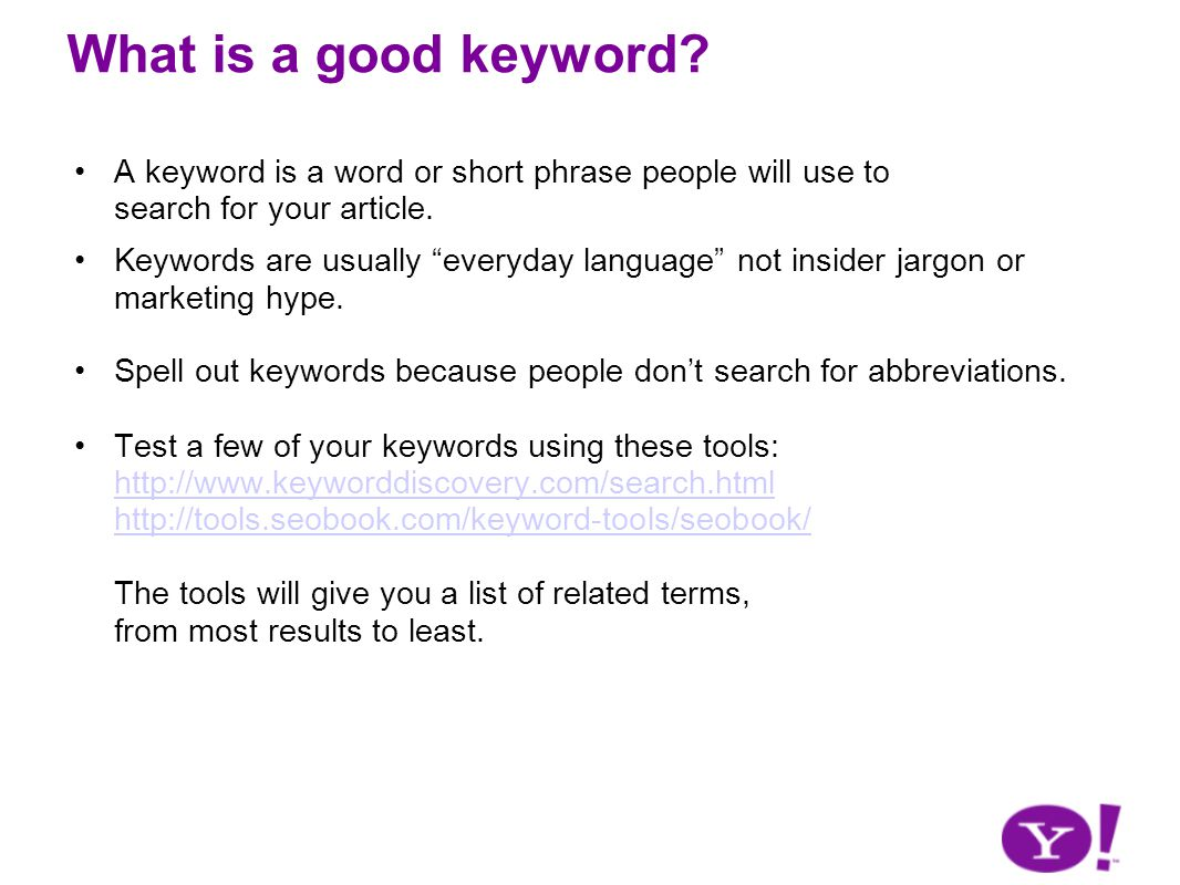 What is a good keyword.