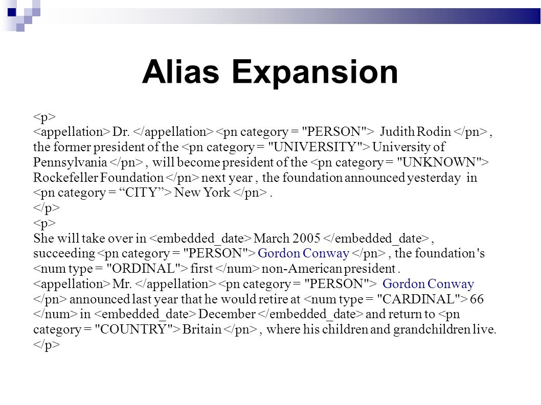 Alias Expansion Dr.