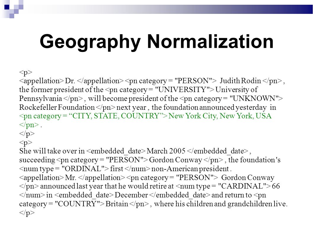 Geography Normalization Dr.