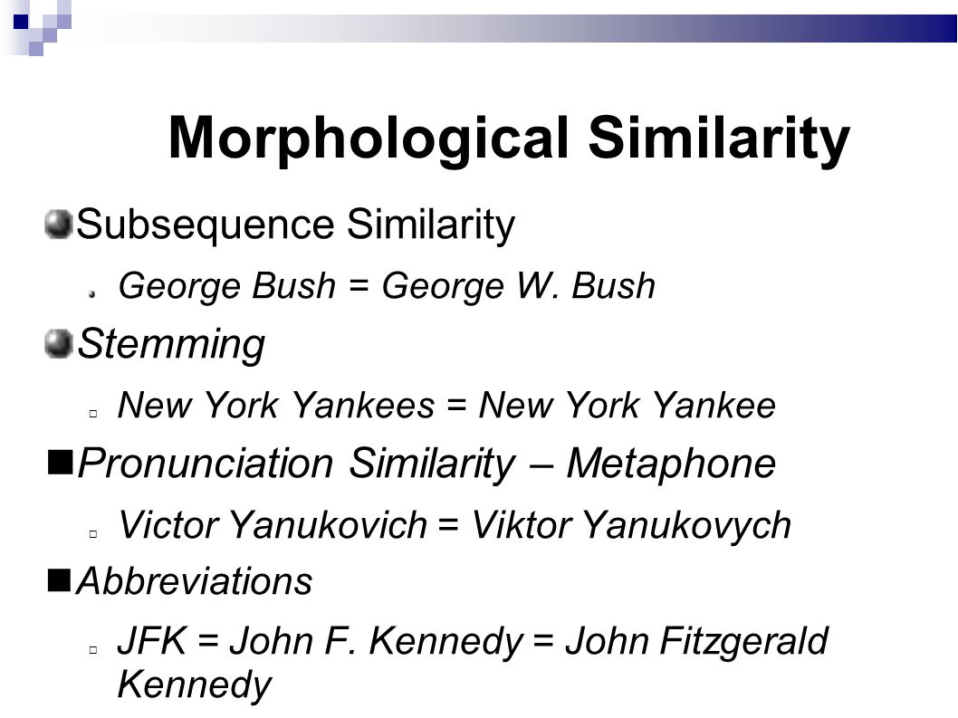 Morphological Similarity Subsequence Similarity George Bush = George W.