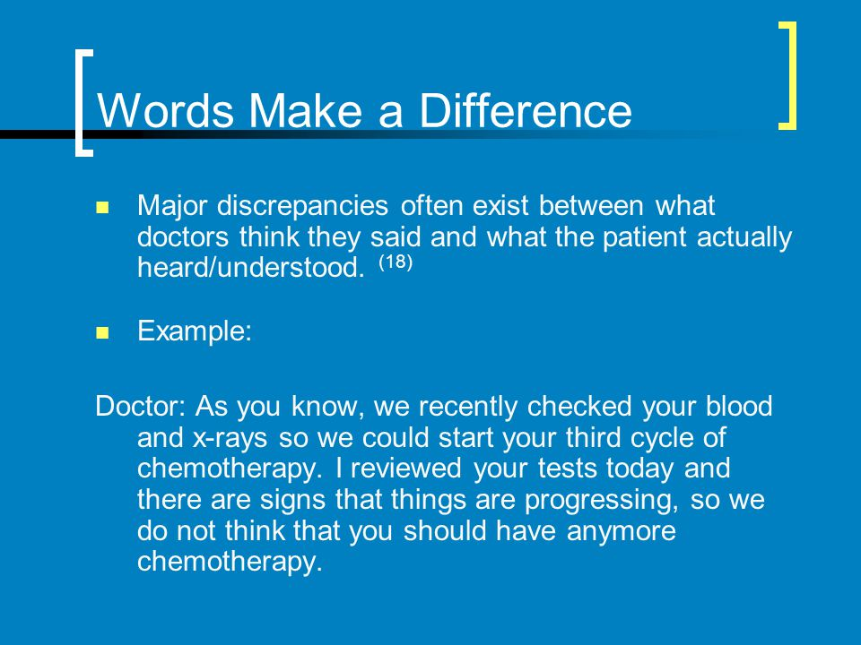 Words Make a Difference Major discrepancies often exist between what doctors think they said and what the patient actually heard/understood. (18) Exam