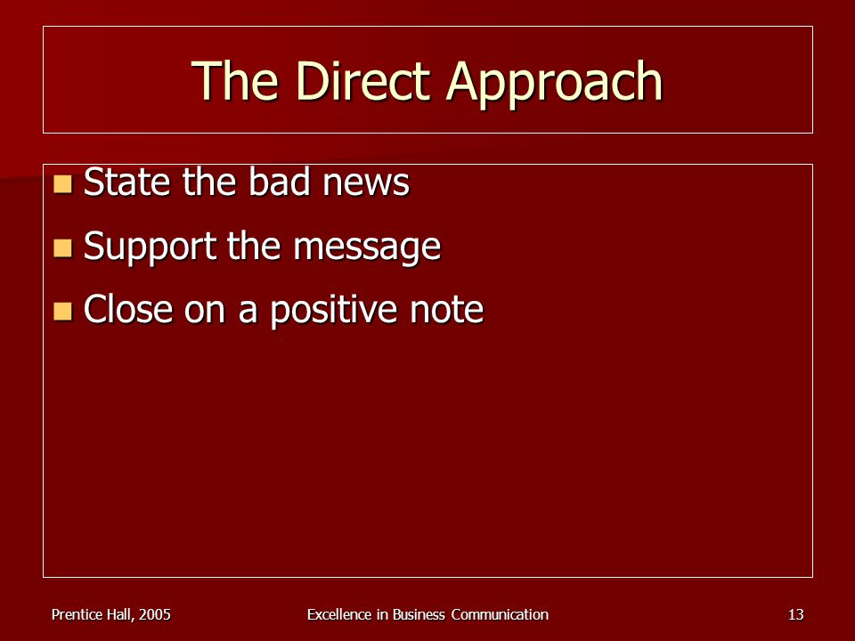 Prentice Hall, 2005Excellence in Business Communication13 The Direct Approach State the bad news State the bad news Support the message Support the me