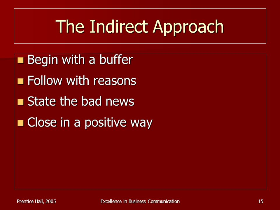 Prentice Hall, 2005Excellence in Business Communication15 The Indirect Approach Begin with a buffer Begin with a buffer Follow with reasons Follow wit