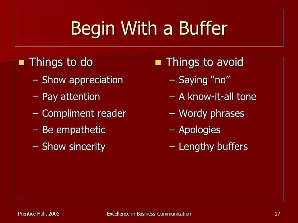 Prentice Hall, 2005Excellence in Business Communication17 Begin With a Buffer Things to do Things to do –Show appreciation –Pay attention –Compliment