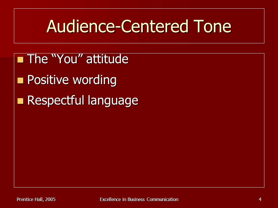 Prentice Hall, 2005Excellence in Business Communication4 Audience-Centered Tone The You attitude The You attitude Positive wording Positive wording Re