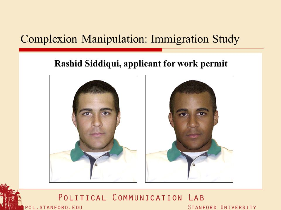 Complexion Manipulation: Immigration Study Rashid Siddiqui, applicant for work permit