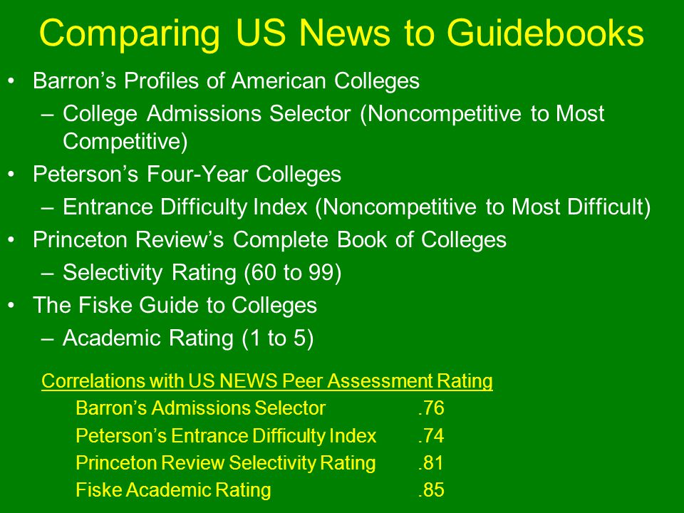 Comparing US News to Guidebooks Barrons Profiles of American Colleges –College Admissions Selector (Noncompetitive to Most Competitive) Petersons Four